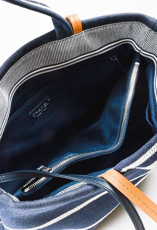 Chanel Dark Blue White Denim 'CC' Striped Shoulder Tote Bag 6