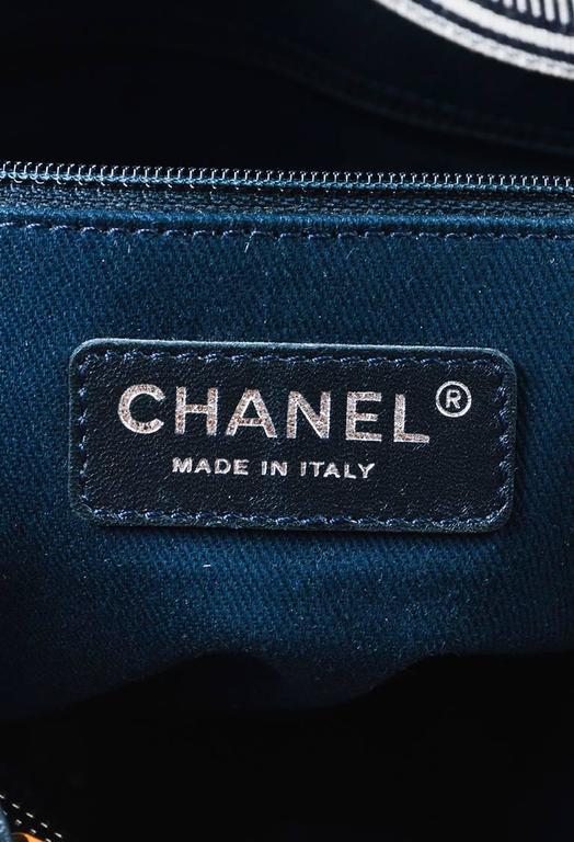 Chanel Dark Blue White Denim 'CC' Striped Shoulder Tote Bag 8