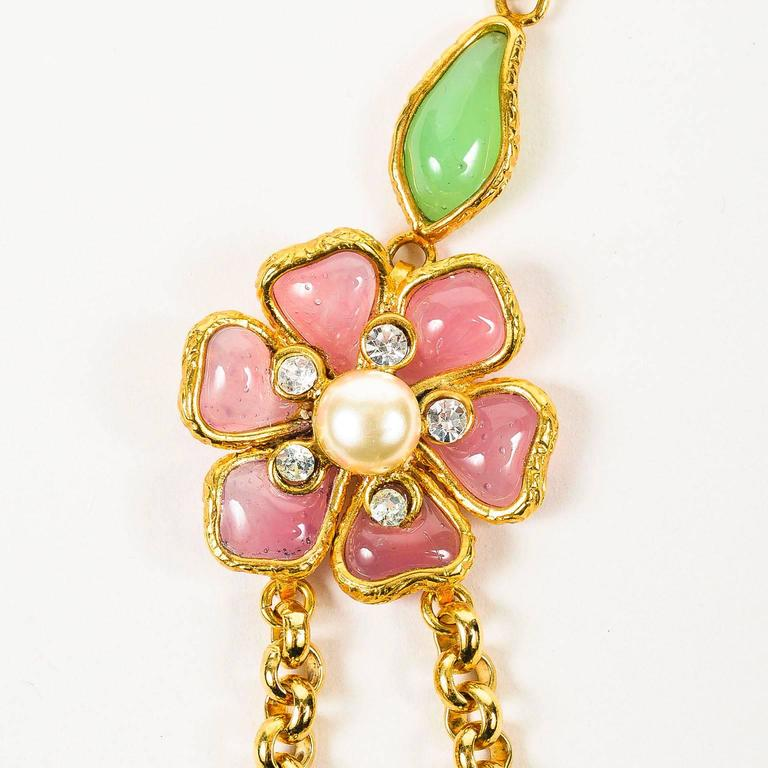 Vintage Chanel Gold Tone Pink Green Gripoix Faux Pearl Flower Chain Necklace 2