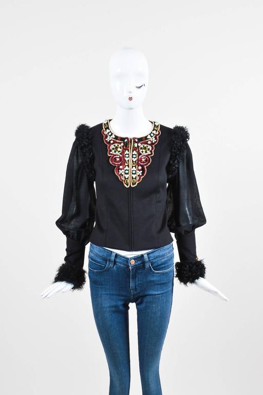 Chanel 09A Black Multi Cashmere Lamb Fur Trim Bead Embellished LS Jacket SZ 38 2