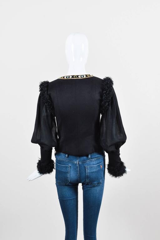 Chanel 09A Black Multi Cashmere Lamb Fur Trim Bead Embellished LS Jacket SZ 38 3