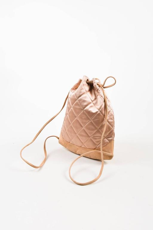 Chanel Blush Pink Suede Satin Quilted Faux Pearl Drawstring Backpack Bag 3