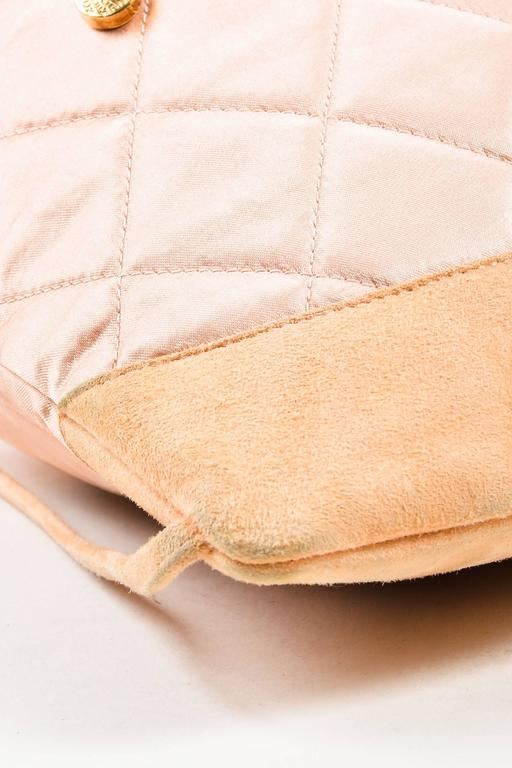 Chanel Blush Pink Suede Satin Quilted Faux Pearl Drawstring Backpack Bag 5