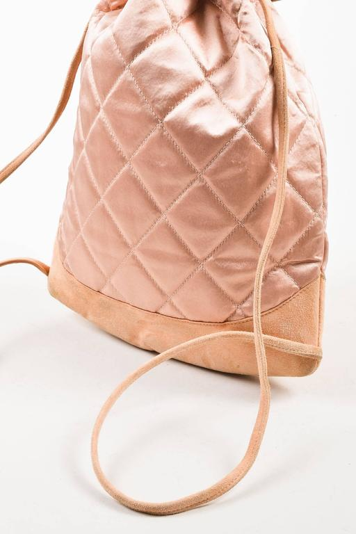 Chanel Blush Pink Suede Satin Quilted Faux Pearl Drawstring Backpack Bag 6