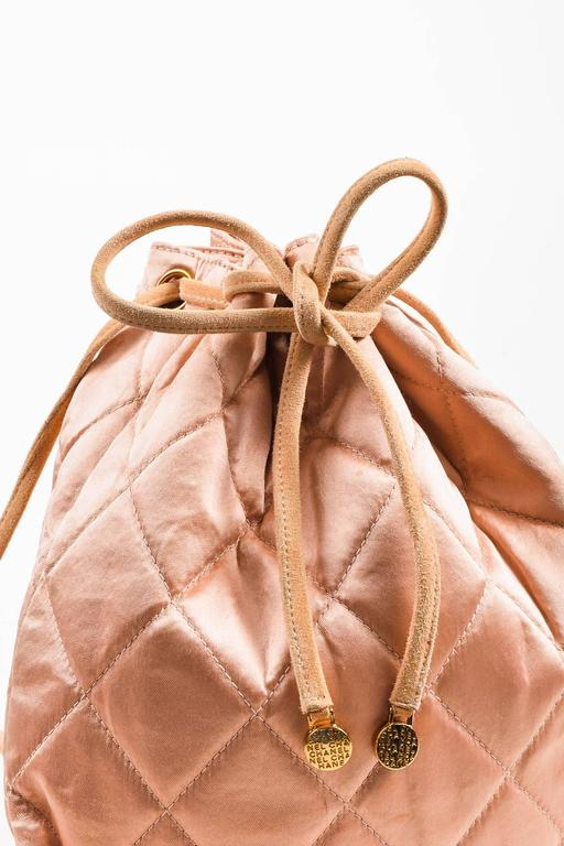 Chanel Blush Pink Suede Satin Quilted Faux Pearl Drawstring Backpack Bag 7