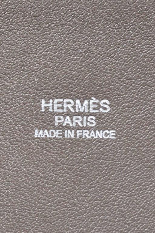 "Hermes 'Vert de Gris' Gray Barenia Leather ""Relax Bolide"" 40cm Tote Bag 7"