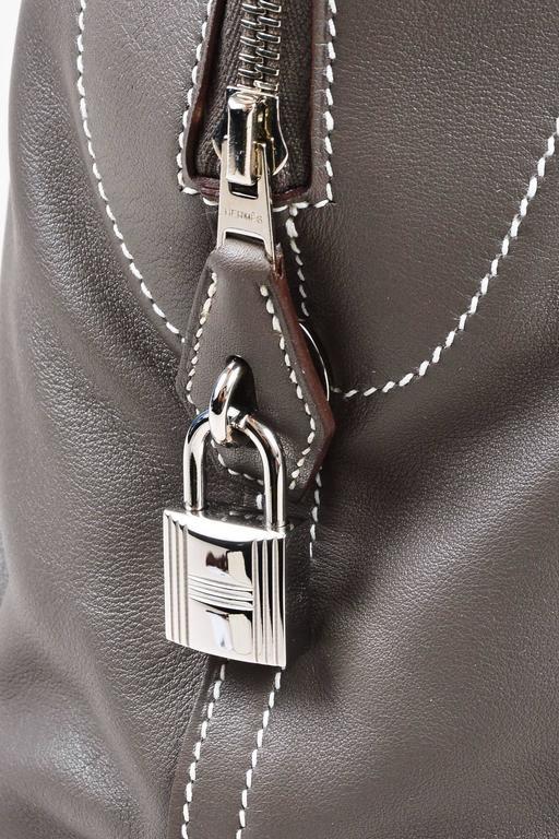 "Hermes 'Vert de Gris' Gray Barenia Leather ""Relax Bolide"" 40cm Tote Bag 9"