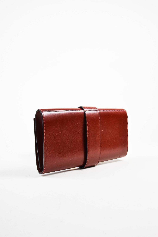 vintage hermes brown box calf clutch bag