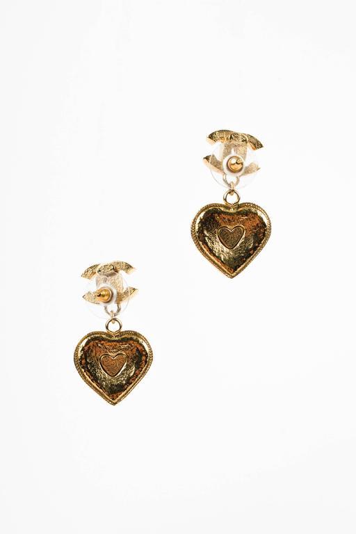 Chanel 05P Gold Tone & Green Crystal & Gripoix Heart & Clover 'CC' Drop Earrings 2
