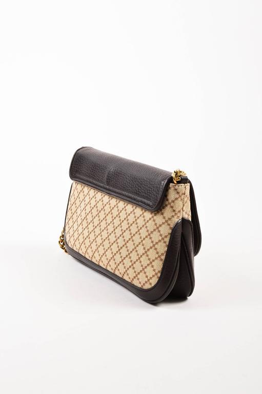 "Gucci Brown Tan Leather ""Diamante"" Canvas ""1973"" Collection Handbag Purse 2"