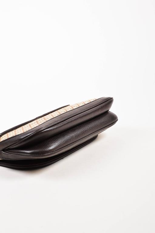 "Gucci Brown Tan Leather ""Diamante"" Canvas ""1973"" Collection Handbag Purse 3"