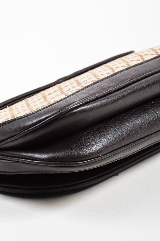 "Gucci Brown Tan Leather ""Diamante"" Canvas ""1973"" Collection Handbag Purse 4"