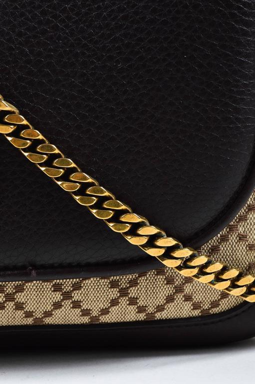 "Gucci Brown Tan Leather ""Diamante"" Canvas ""1973"" Collection Handbag Purse 5"