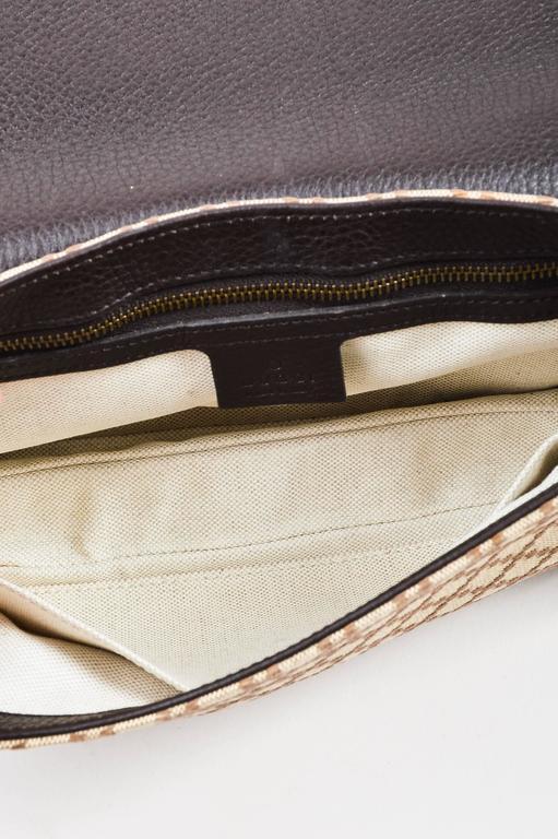 "Gucci Brown Tan Leather ""Diamante"" Canvas ""1973"" Collection Handbag Purse 6"