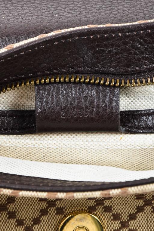 "Gucci Brown Tan Leather ""Diamante"" Canvas ""1973"" Collection Handbag Purse 8"