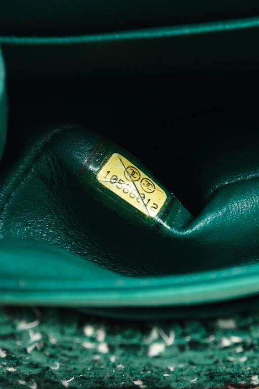 "Chanel Green White Silver Tone Tweed Chain ""Medium Classic Double Flap"" Bag 7"