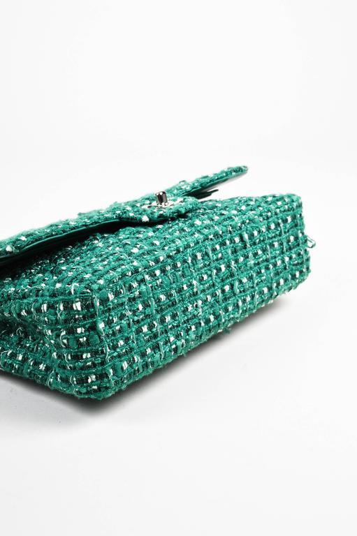 "Chanel Green White Silver Tone Tweed Chain ""Medium Classic Double Flap"" Bag 3"