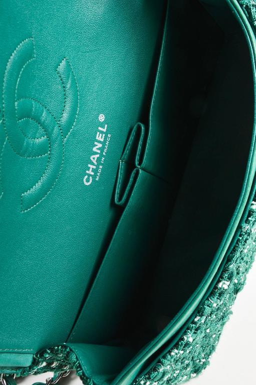 "Chanel Green White Silver Tone Tweed Chain ""Medium Classic Double Flap"" Bag 6"