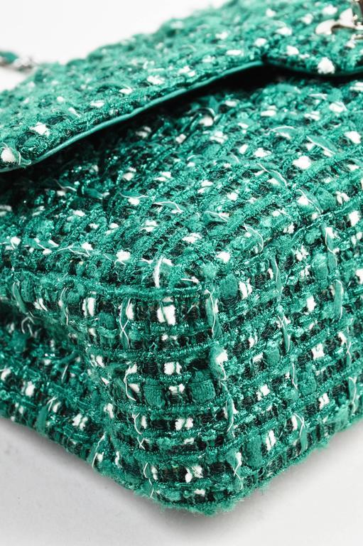 "Chanel Green White Silver Tone Tweed Chain ""Medium Classic Double Flap"" Bag 4"