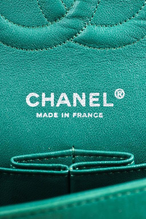 "Chanel Green White Silver Tone Tweed Chain ""Medium Classic Double Flap"" Bag 8"