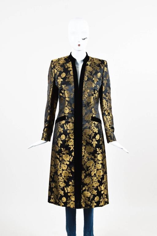 Escada Couture Black Gold Floral Jacquard Velvet Trim
