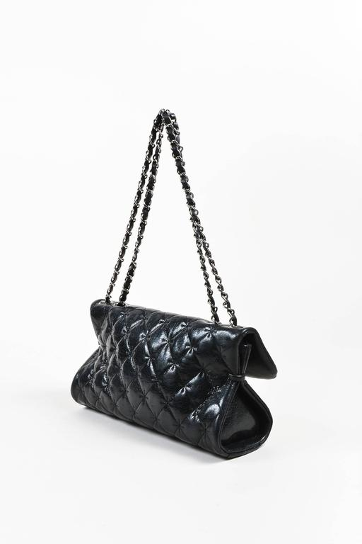 Chanel Black SHW Quilted Glazed Crackled Leather Mademoiselle Chain Strap Bag 2