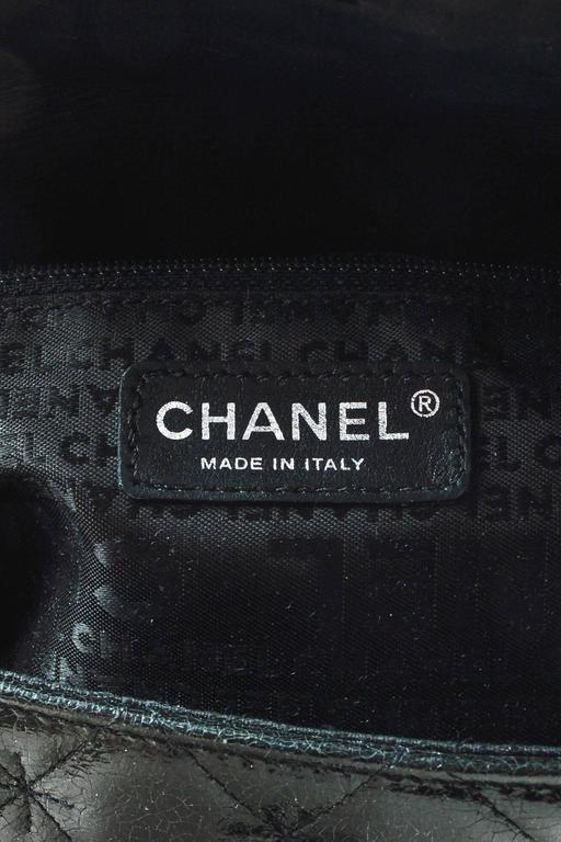 Chanel Black SHW Quilted Glazed Crackled Leather Mademoiselle Chain Strap Bag 7