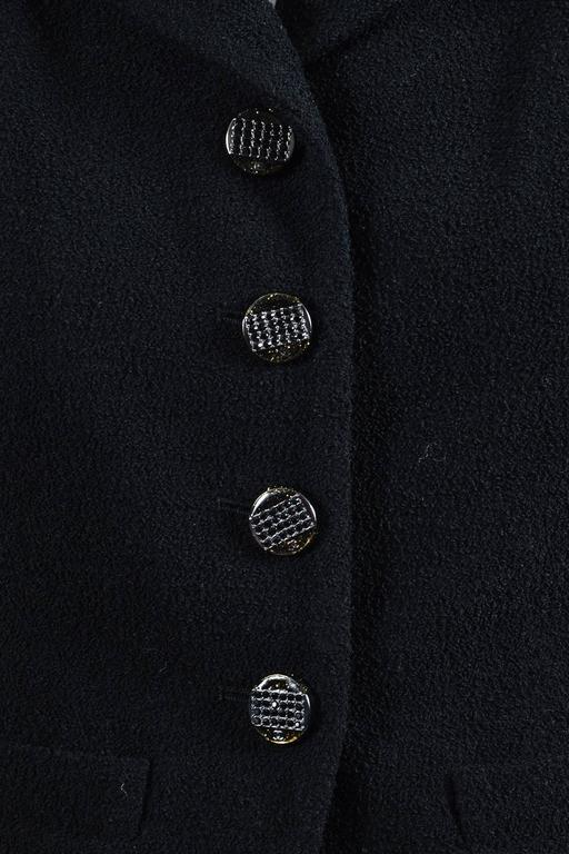 "Chanel Black Wool Blend Boucle Rhinestone ""CC"" Buttons LS Jacket Size 38 4"