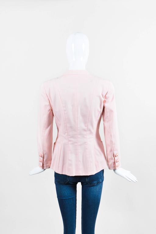 Chanel Light Pink Poplin Button Up Tailored Long Sleeve Blazer Jacket 3