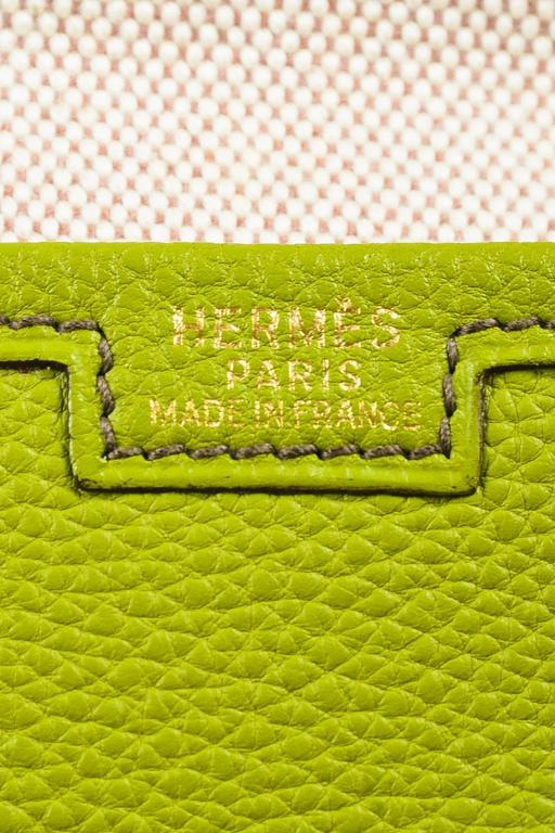"Hermes Vert Anis Green Togo Leather ""Jige PM"" Flap Clutch Bag 5"
