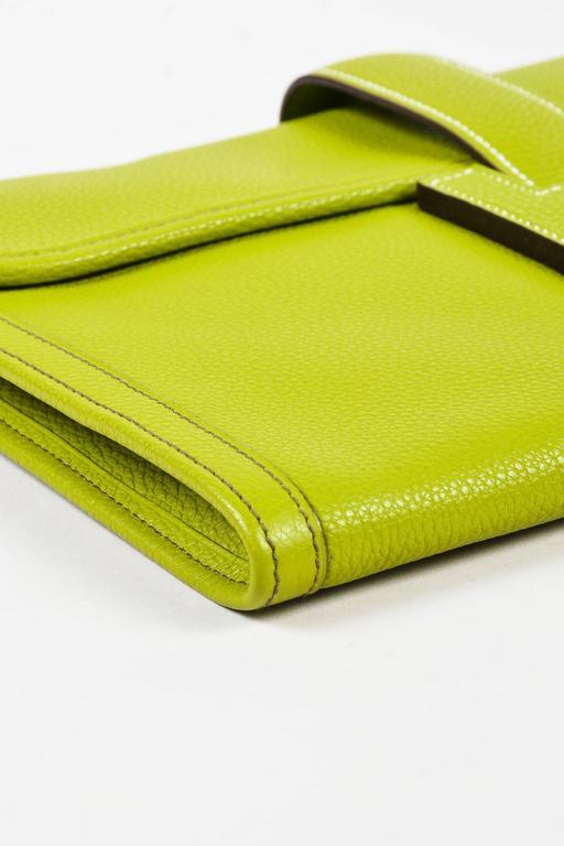 "Hermes Vert Anis Green Togo Leather ""Jige PM"" Flap Clutch Bag 4"