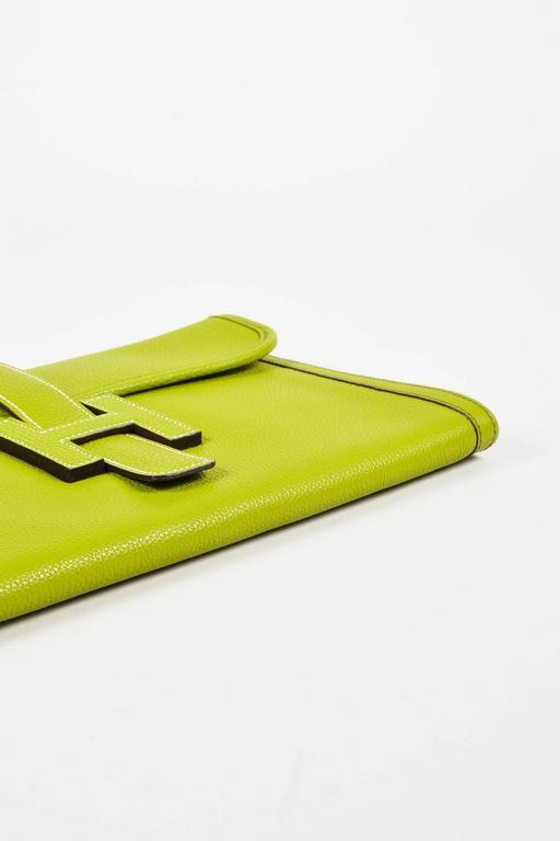 "Hermes Vert Anis Green Togo Leather ""Jige PM"" Flap Clutch Bag 3"