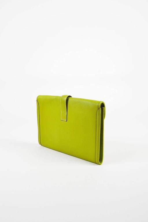 "Hermes Vert Anis Green Togo Leather ""Jige PM"" Flap Clutch Bag 2"