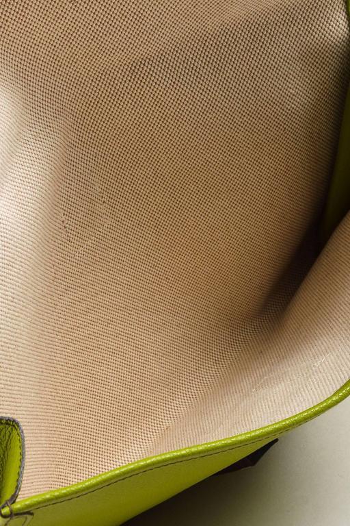 "Hermes Vert Anis Green Togo Leather ""Jige PM"" Flap Clutch Bag 6"