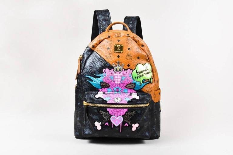 MCM x Stefan Strumbel Limited Edition Tan Black Leather Medium Backpack 2