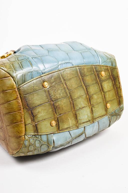 Salvatore Ferragamo Olive Green Light Teal Alligator GHW Bucket Bag 3