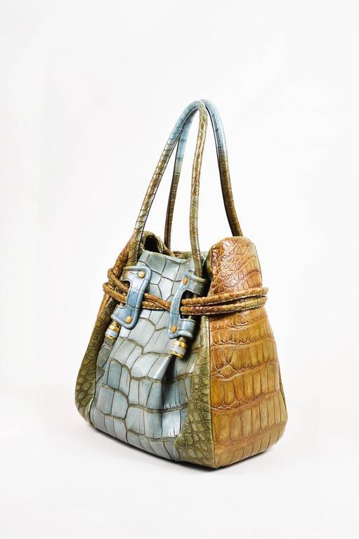 Salvatore Ferragamo Olive Green Light Teal Alligator GHW Bucket Bag 2