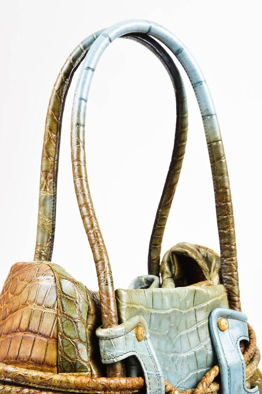 Salvatore Ferragamo Olive Green Light Teal Alligator GHW Bucket Bag 4