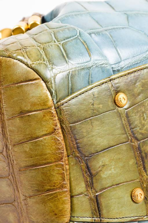 Salvatore Ferragamo Olive Green Light Teal Alligator GHW Bucket Bag 6