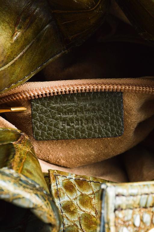 Salvatore Ferragamo Olive Green Light Teal Alligator GHW Bucket Bag 7