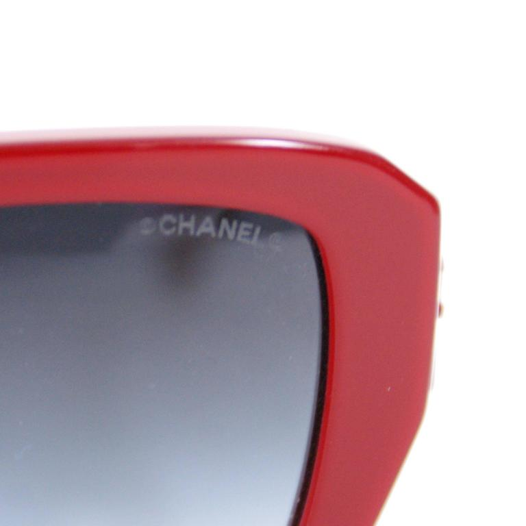Chanel Red/Lucite Square new sunglasses with case.