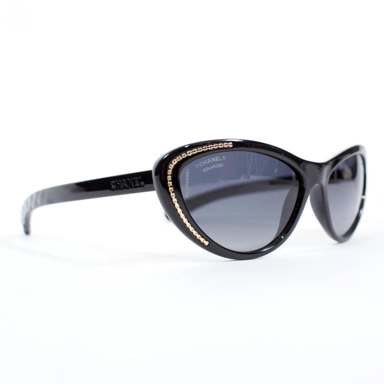 Chanel Cat-Eye Black sunglasses new with case.