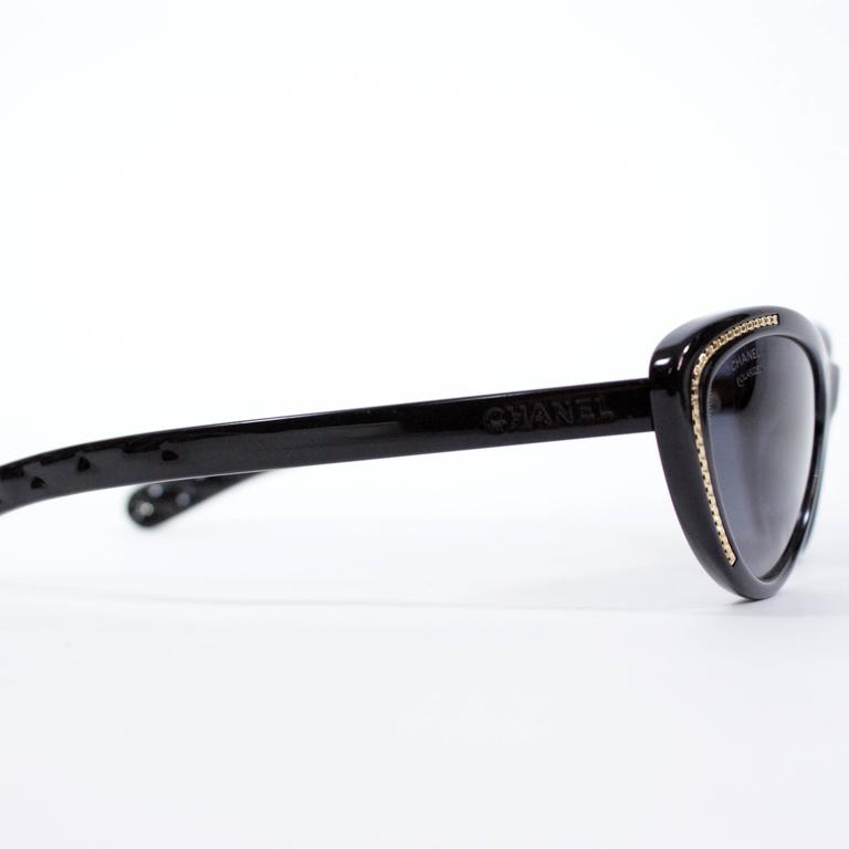 Chanel Cat-Eye Black Sunglasses In New Never_worn Condition For Sale In Narberth, PA
