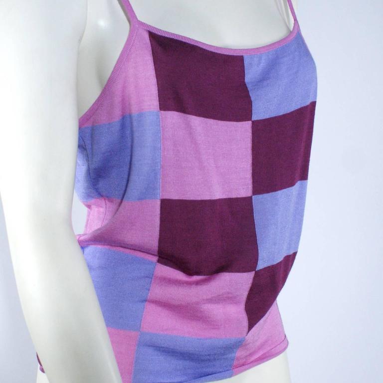 Chanel Pink Checkered Silk Knit Tank  5