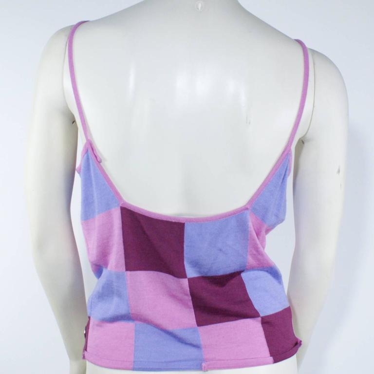 Chanel Pink Checkered Silk Knit Tank  3