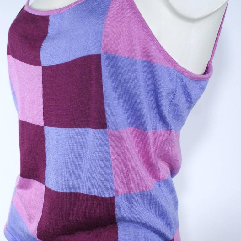 Chanel Pink Checkered Silk Knit Tank  4