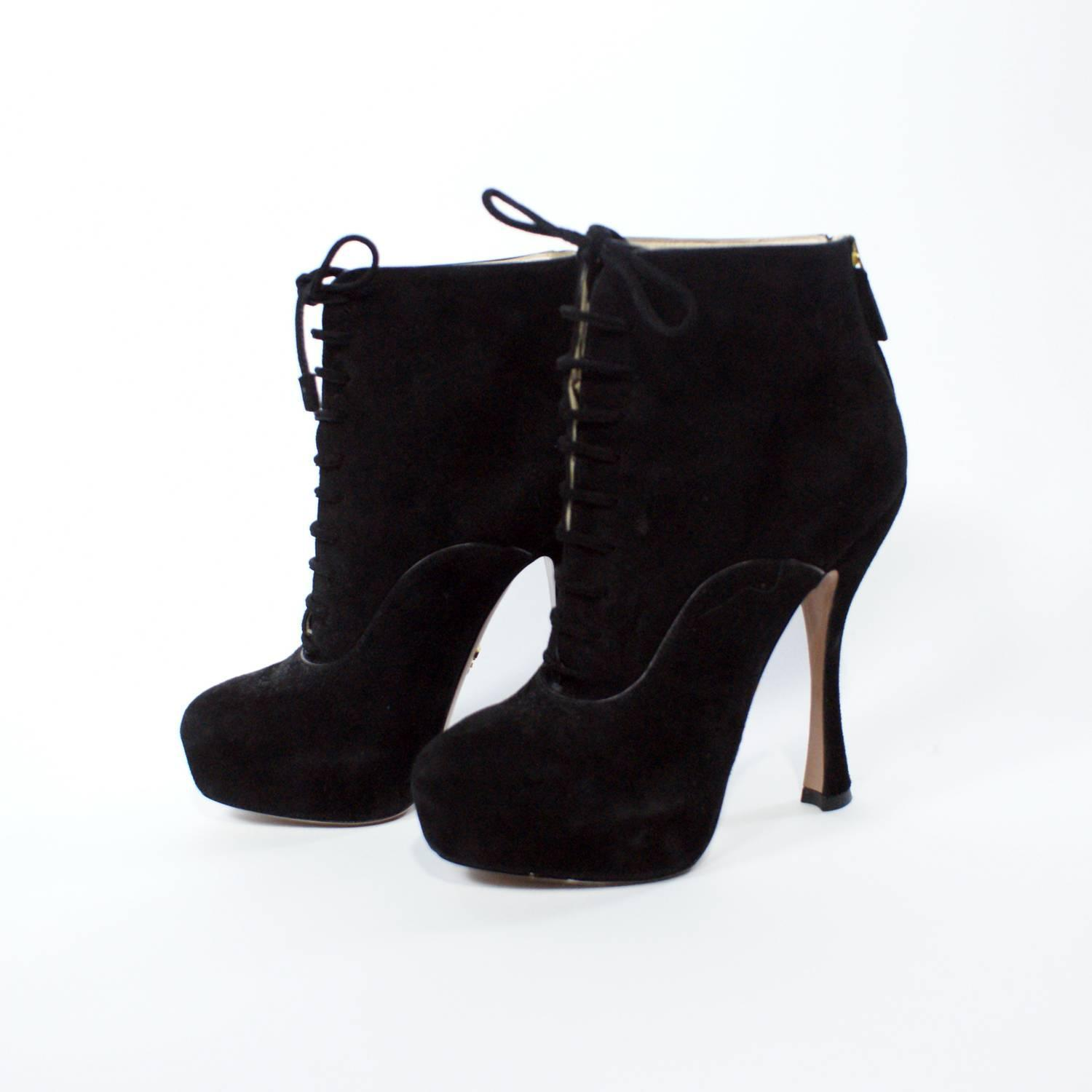 prada lace up stiletto high heel ankle boots at 1stdibs
