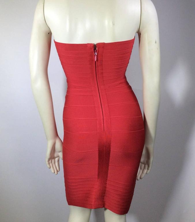 Herve Leger Red Strapless Bandage Dress 4