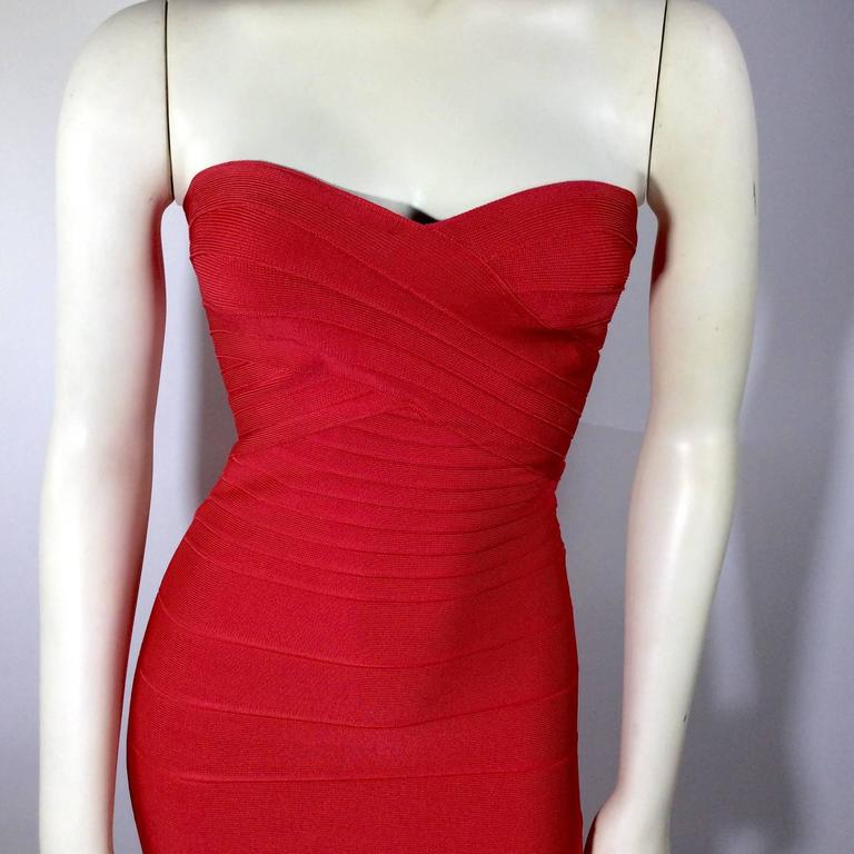 Herve Leger Red Strapless Bandage Dress 5