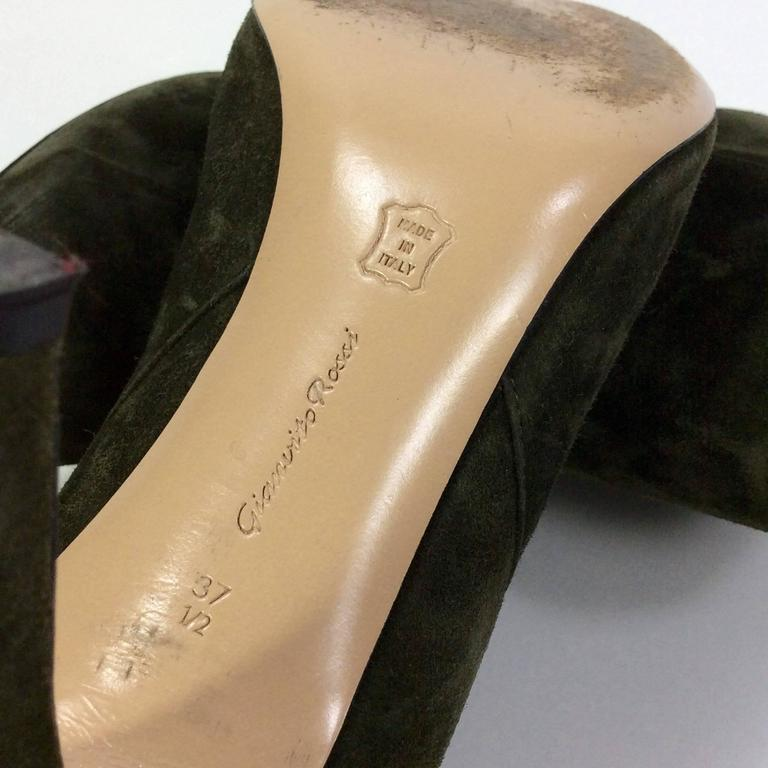 Gianvito Rossi Olive Suede Pointed Bootie For Sale 1